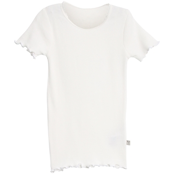 Wheat Rib T-shirt Lace SS <br> Ivory
