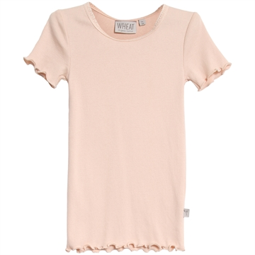Wheat Rib T-shirt Lace SS <br> Powder