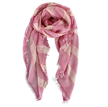 Black Colour Scarf Selina <br> Striped Pink