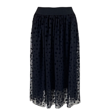 Black Colour Daisie Skirt <br> Black Mesh Dot